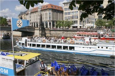 Dampferanlegestelle an der Museumsinsel. Berlin vom Wasser aus