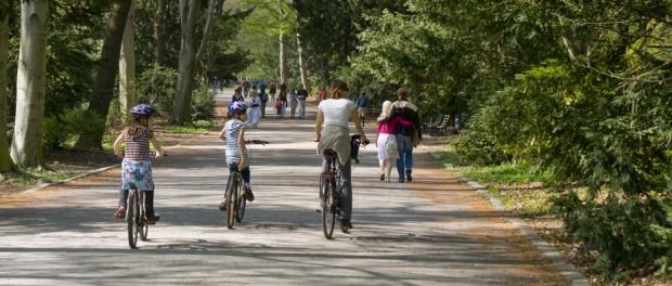 Mit dem Rad unterwegs in Berlin. Hier im Tiergarten