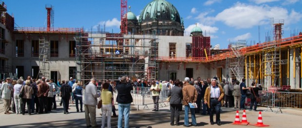Die Bauarbeiten am Humboldt-Forum in Berlin gehen voran.