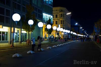 25 Jahre Mauerfall. Lichtergrenze am Checkpoint Charlie - Berliner Mauer