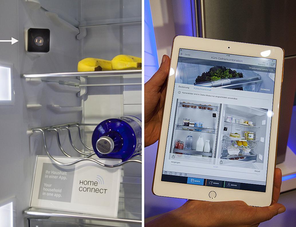 Kühlschrank von Siemens mit zwei Kameras, die bei jedem Schließen der Tür ein Foto vom Innenraum machen. Abrufbar auf dem Tablet.