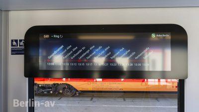 Display in der neuen Berliner S-Bahn - Inootrans 2018